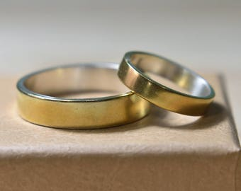 Wedding Rings Set Gold Plated Silver. Wedding Bands His and Hers. Wedding Bands Set. Wedding Bands Set His and Hers.