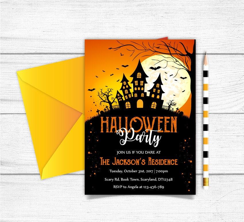 Printable Halloween Invitation,Halloween Party Invite, Adult ...