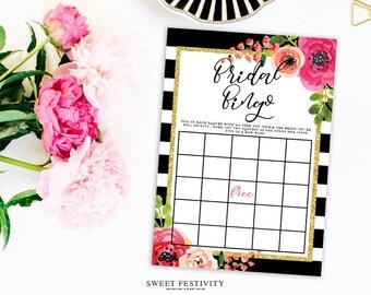 Bridal Shower Bingo Game, Black and White Striped Bridal Shower, Pink Floral Bridal Shower, Wedding Shower, Printable Bridal Shower Game