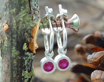 ON SALE NOW Silver Gemstone Hoop Earrings, Silver Hoops, Ruby Hoops, Ruby Earrings, Dangly Earrings, Silver Drop Earrings, Red Gemstone Earr