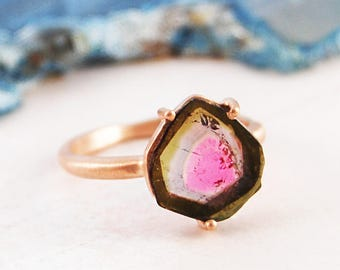 Rose Gold Ring, Gifts For Her, Solitaire Ring, Watermelon Tourmaline, Gemstone Ring, October Birthstone, Rose Gold Jewellery, Geometric Ring