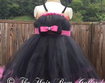 Cat Costume - Kitty Tutu Dress - Halloween Costume - Cat Tulle Dress - Black Cat Costume