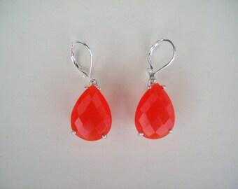 Checkerboard Peach Quartz Genuine Gemstone Earrings in 925 Sterling Silver 16x12mm Pear