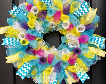 Spring or Easter Mesh Wreath with Bright Colors
