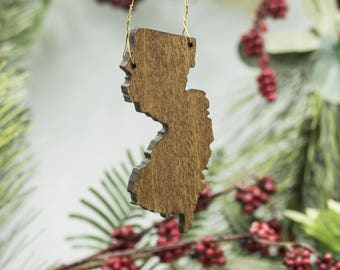 New Jersey Christmas Ornament - Wooden New Jersey Carved Ornament - Wooden Engraved NJ Tree Ornament - New Jersey Poplar Ornament