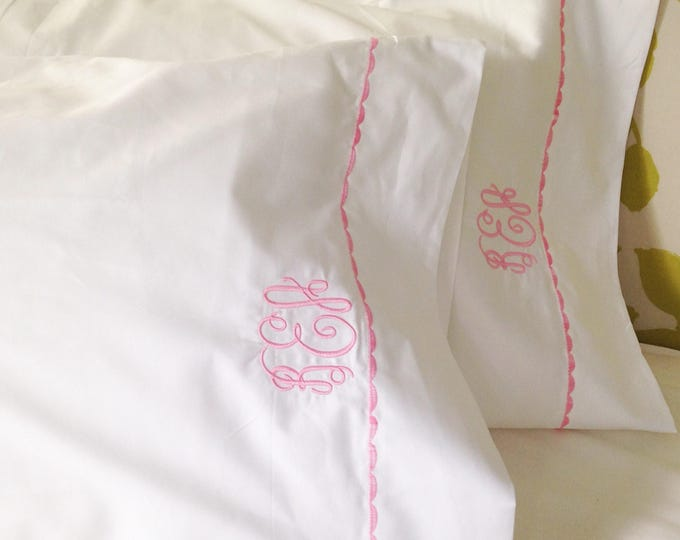 Featured listing image: Monogram Queen Sheet Set  with Custom Embroidered Border / Monogram Bedding / Wedding Gift
