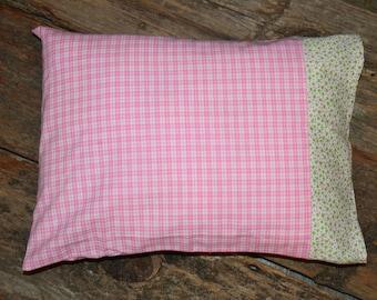 pink gingham with greenpink trim nap timetravel pillowcase toddler pillowcase