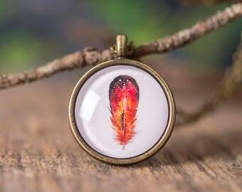 Boho necklace, feather necklace, nature necklace, boho style necklace, red necklace, red feather necklace, watercolor feather necklace