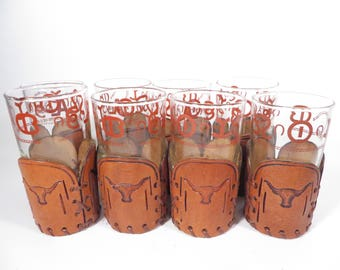 Set of 8 Vintage Libbey Western Highball glasses - BAMCO Longhorn Rodeo Leather Glass Tumblers