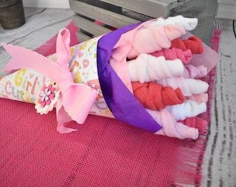 Baby Bouquet | Unique Baby Shower Gift |Baby Washcloth Bouquet | Baby Girl Gift New Parent Gift | Baby Shower Gift | Girl Baby Shower Decor