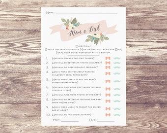 Mom Or Dad Digital Download, Downloadable File Mom Versus Dad, Mom v. Dad, Baby Shower Game, Baby Sprinkle Game