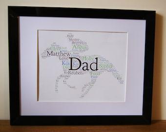 Personalised Word Art Horse Racing Jockey Grand National Dad Birthday gift card Frame