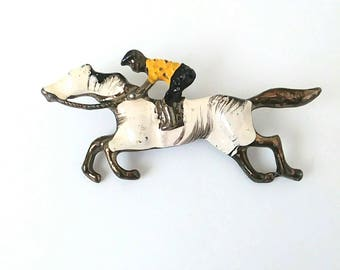 1950s Enameled Brass Horse and Jockey Novelty Brooch