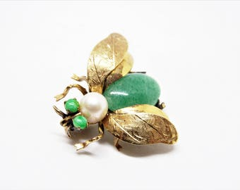 14 Karat Gold Jade and Pearl Fly Bug Insect Brooch Trombone Clasp