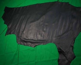 Black Cow hide side  1.3 sq m Full grain flexible 1.5 - 1.6 mm Cowhide leather