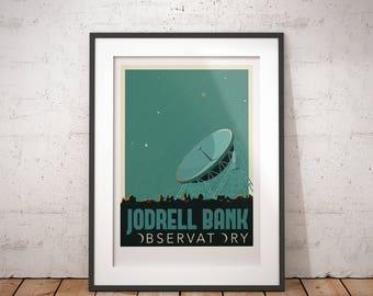 Jodrell Bank Observatory, University of Manchester, England, UK - signed travel poster print