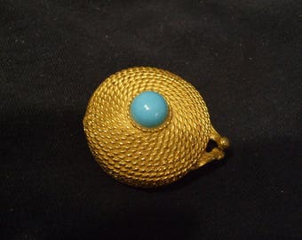 Vintage Estee Lauder Turquoise Goldtone Compact ,  Youth Dew Fragrance , Unusual Older Solid Perfume