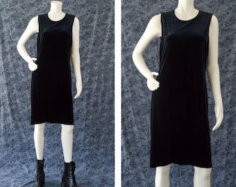 Black Velvet Dress, 90s Black Goth Sleeveless Dress, Little Black Dress, Black Witchy Dress, Ronni Nicole, Women's Size 12, Plus Size Dress