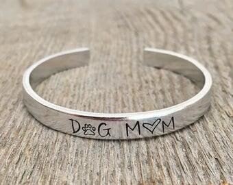 Dog Mom Bracelet, Dog Mom Jewelry, Dog Mom Cuff, Gift for Dog Mom, Dog Lover Jewelry, Dog Lover Bracelet, Gift for Dog Lover, Gift under 20