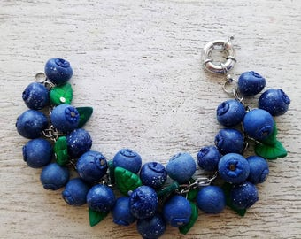 Blueberries bracelet Blueberry Bracelet whis berries Bracelet for women berry blue berry Tiny berry Blue berries Spring Bangle Berry Bangle
