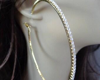 Large 4.5 inch Hoop Earrings Classic Thin Rhinestone Crystal Hoop Earrings Gold tone HOOPS