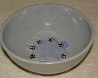 Dog Bowl, Pet Bowl, Pet Water Bowl, Dog Food Bowl, Gray, Lavender, Paw Prints, Stoneware