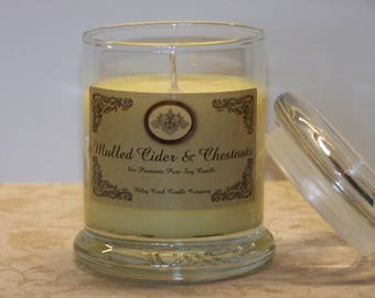 Mulled Cider and Chestnuts Premium Holiday Scent Pure Soy Candle 8oz