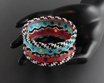 Made to Order...Colorful.Miyuki Delica Seed Bead Bracelet.Bead and Loop Closure.Black and White rolled edge