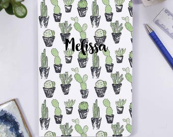 Cacti Notebook for her - Travel Journal for her - Personalised Notebook - Birthday Gift For her - Teenage birthday gift - Succulent Notebook