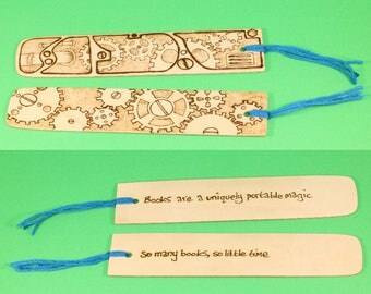 Steampunk Design Wooden Bookmark - Steampunk pattern with quote on reverse, booklovers gift, custom bookmark