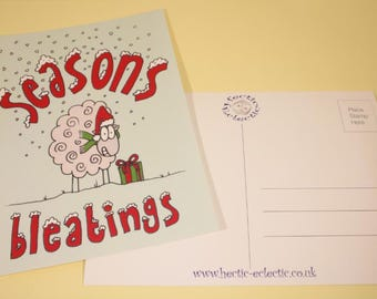 Seasons Bleatings sheepy Christmas postcard - original illustration, Christmas card, greetings card