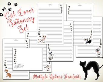 Cat Stationery, Paw Print Stationery - Cat lover