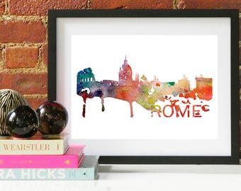 Rome Watercolor Skyline, Rome Skyline, Rome Art, Rome Poster, Rome Print, Rome Art, Rome Map, Rome Wall Art, Italy Art