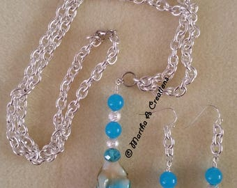 Blue Glass Silver Necklace & Earring Set