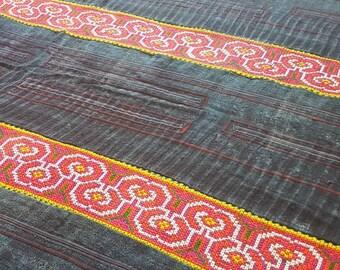 Bedspread throw hemp embroided bespoke