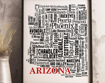Arizona Map Art, Arizona Art Print, Arizona City Map, Arizona Typography Art, Arizona Wall Decor, Arizona Moving Gift