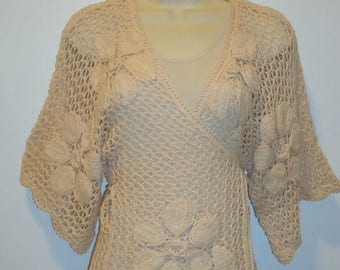 The SALE Is On SALE Beautiful Vintage Crochet Wrap Sweater, Sz. S