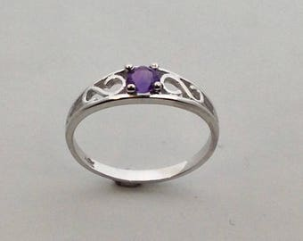 Baby Ring With Natural Amethyst Solid 10kt White Gold
