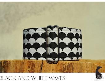 Black and White Waves (Martingale Dog Collar - Greyhound collar   Galgo collar)