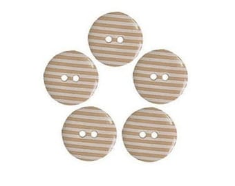 5 buttons 15 mm Brown white stripes