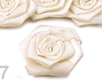 2 flowers satin ivory 7 cm