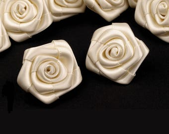 10 small pink ivory satin flowers 15 mm