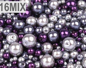 16 MIX - 4-12 mm grey purple glass beads