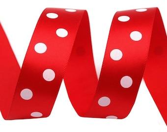 Red polka dot satin ribbon white 22 mm