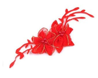 Fusible flower organza and red beads