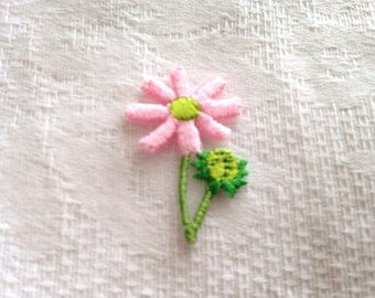 Applique 1pc fusible pink flower Daisy