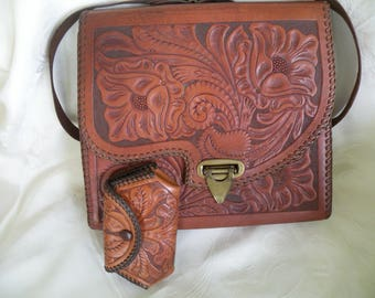 Vintage Tooled Leather Handbag 196os, BaJa, purse, hand tooled, change purse