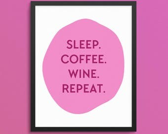 Gift for Her. Wine Print. Coffee Art Print. Gallery Wall Print. Funny Bar Cart Print. Apartment Print. Living Room Print. Bedroom Print