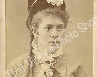 Antique CDV photograph Victorian Woman Fancy Hat