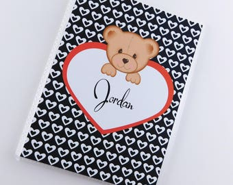 Valentine's Day Photo Album 1st Valentine's day Baby Boy Teddy Bear heart Personalized keepsake Present 4x6 or 5x7 Pictures 826